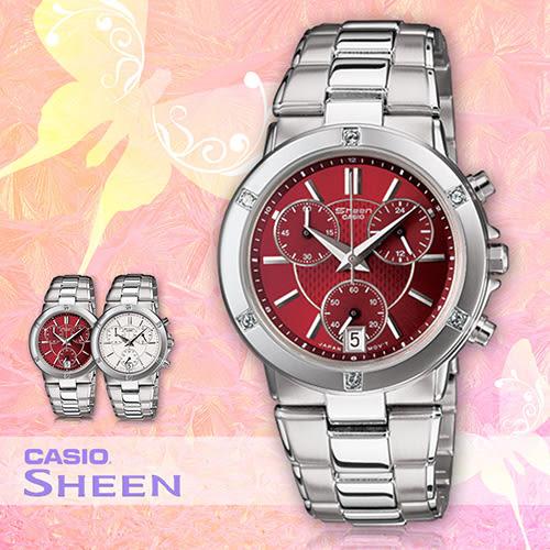 CASIO手錶專賣店 卡西歐 SHEEN SHN-5005D-4A 女錶 紅面 時尚三眼 防刮礦物玻璃 強化不繡鋼錶帶