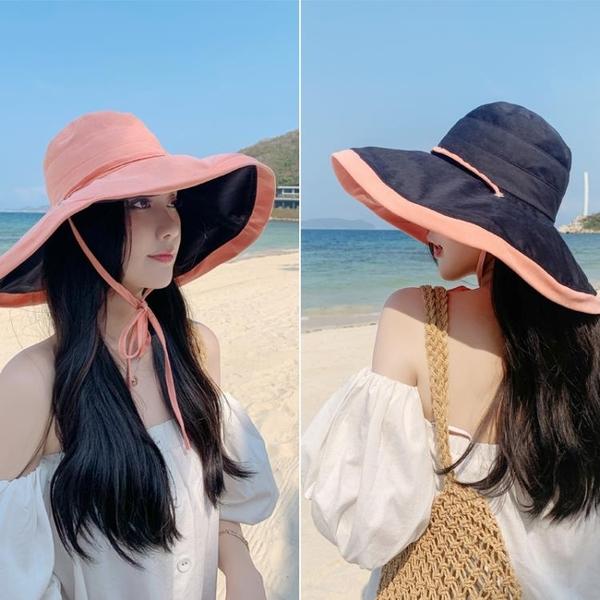 日本防曬漁夫帽防紫外線遮臉遮陽女可折疊夏季百搭大沿帽檐太陽帽 西城故事