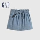 Gap女童 甜美棉質繫帶短褲 670300-中度水洗