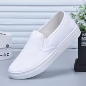 護士鞋小白鞋女韓版百搭舒適護士鞋輕便防滑休閒美容帆布鞋一腳蹬懶人鞋 衣間迷你屋