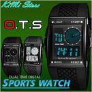 OTS運動電子錶 黑色風暴鬧鐘碼錶冷光 型男 防水多功能 當兵必備 禮物首選 經典雙顯錶【KIMI store】