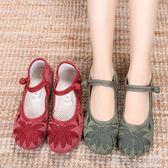 新款老北京布鞋女復古民族風繡花鞋軟底防滑舒適平底媽媽鞋漢服鞋 錢夫人小鋪