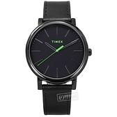 TIMEX 天美時 / TXTW2U05700 / 復刻系列 簡約風格 冷光照明 礦石強化玻璃 真皮手錶 黑色 42mm
