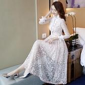 女神衣2021年新款春裝女連身裙氣質女神范衣服洋氣早春流行裙子粉色蕾絲LX 嬡孕哺