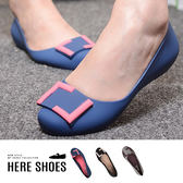 [Here Shoes]幾合方框素面百搭純色防滑2.5cm小坡跟果凍雨鞋-AR512-1