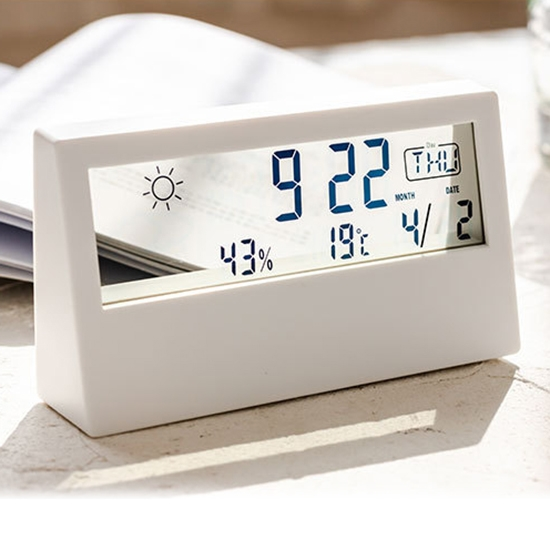 鬧鐘 電子鬧鐘 溫濕度計 貪睡 天氣顯示 時鐘 溫度濕度計 透視 北歐簡約電子鐘【Q246】慢思行