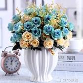 仿真玫瑰花束假花絹花幹花藝藤蔓客廳擺設餐桌茶幾擺件裝飾花盆栽YYP CIYO黛雅
