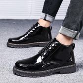 馬丁靴秋季男士高筒皮鞋韓版潮流中筒黑色休閒馬丁靴防水黑皮靴子男英倫 coco衣巷