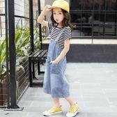 女童牛仔背帶褲夏季寬鬆闊腿褲兒童洋氣夏裝