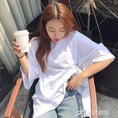 春裝女裝韓國ulzzang中長款純色開叉寬鬆短袖T恤bf風外穿學生上衣 七夕禮物中秋禮物