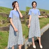 漂亮小媽咪 碎花洋裝 【DS9812】 兩件式 吊帶裙 長裙 雪紡 長洋裝 孕婦裝 洋裝 連身裙