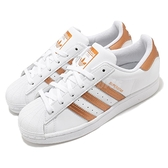 adidas 休閒鞋 Superstar W 白 橘 金 女鞋 運動鞋 貝殼頭 【ACS】 FX7484