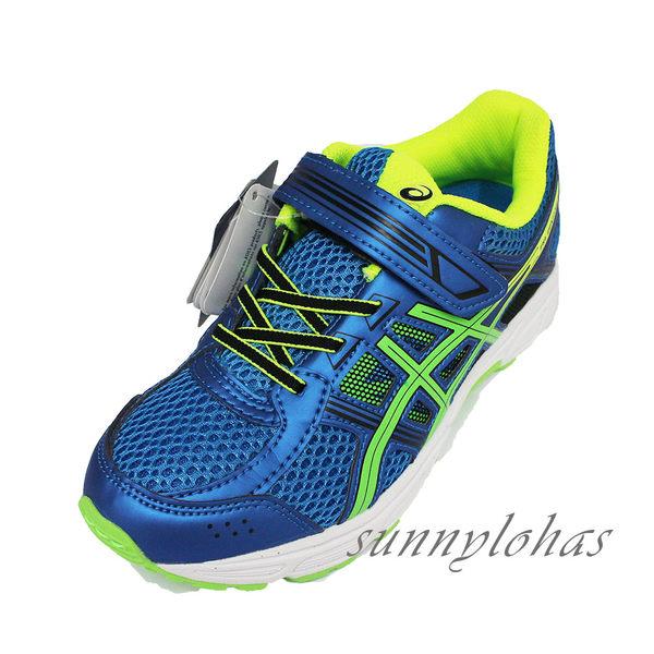 ASICS 亞瑟士 PRE-Contend 4 PS 兒童慢跑鞋 C709N-4385(藍x綠) [陽光樂活](A5)