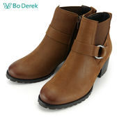 ★新品上市★【Bo Derek】雙圓釦飾低跟短靴-駝