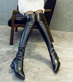 冬季過膝靴瘦瘦靴長筒靴小辣椒瘦腿彈力靴尖頭平底高筒靴 深藏blue