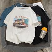 短袖 男裝夏季圖案印花短袖t恤男潮原宿風寬鬆五分袖ins半袖體恤衫  5色