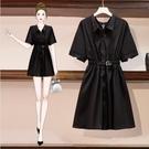 洋裝襯衣裙小黑裙中大尺碼L-4XL大碼時尚寬鬆收腰顯瘦連身裙可鹽可甜a字裙R037-1091.韓依紡