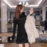 氣質小禮服法國小眾燙鉆絲絨女裙修身顯瘦宴會裙【繁星小鎮】