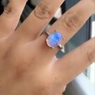 天然印度藍月光石強光戒指925純銀鍍白金...