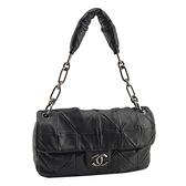 【奢華時尚】CHANEL黑色菱格紋羊皮銀色雙C釦肩背信封包(八五成新)#25192