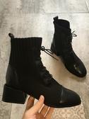 襪靴網紅鞋子女潮鞋馬丁瘦瘦粗跟秋款百搭襪靴冬季chic短靴冬 韓國時尚週