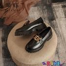 牛津鞋 2021春季新款一腳蹬樂福鞋粗跟小皮鞋復古英倫風厚底單鞋女牛津鞋 寶貝計畫