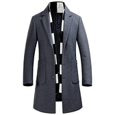 毛呢外套-羊毛冬季立領純色中長款男大衣2色73pm8[巴黎精品]