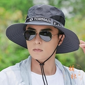 帽子男遮陽夏季釣魚草帽戶外登山大帽檐漁夫帽防曬帽【橘社小鎮】