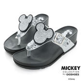 Disney 慵懶時尚~閃亮米奇頭夾腳楔型拖鞋-銀白