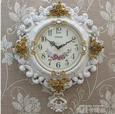 簡約歐式掛鐘客廳大號掛錶創意靜音鐘錶擺鐘現代牆壁鐘臥室石英鐘QM 依凡卡時尚