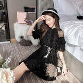 限時38折 韓版時尚露肩拼接喇叭袖名媛短袖洋裝