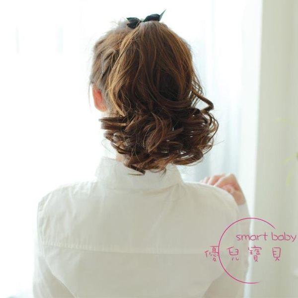 假髮尾假髮馬尾短假髮假髮女短髮短版逼真梨花波浪捲綁帶式馬尾 快速出貨