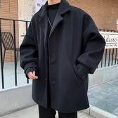 毛呢西裝外套男休閑潮牌ins潮流風衣寬松韓版短款呢子大衣男學生