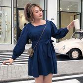 大碼女裝胖mm2019新款春裝寬松胖公主休閑顯瘦胖女人連身裙