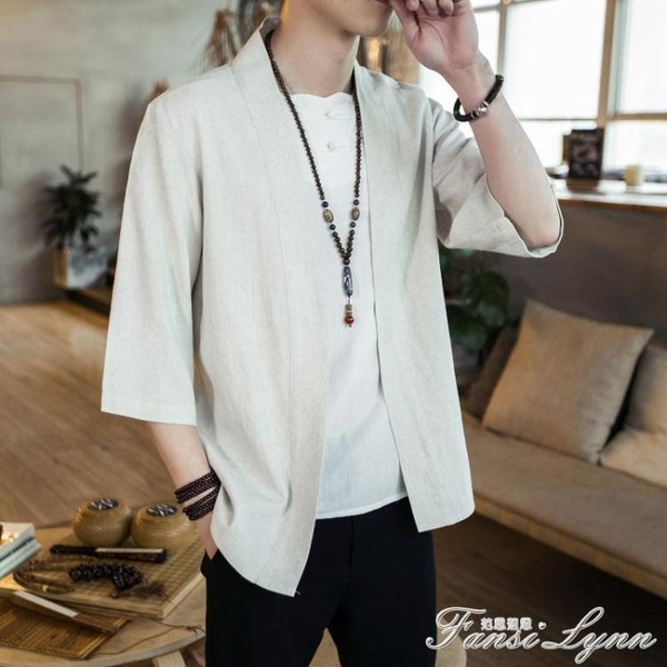 國風夏季男裝亞麻純色外套男寬鬆加肥加大碼7七分袖襯衫開衫薄 范思蓮恩