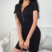 新款拉鏈短袖連身裙女歐美ins秋季修身顯瘦性感包臀短裙 夏季新品