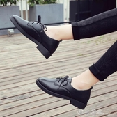 春黑色小皮鞋單鞋女平底尖頭百搭2020新款秋季粗跟學生工作女鞋子 西城
