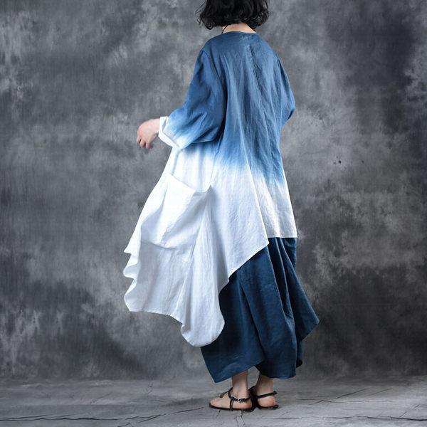 漸進色寬鬆亞麻兩件套洋裝/設計家之藍天白雲