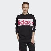 X-adidasR.Y.V. Sweatshirts 黑 粉紅 女款 大學T 運動休閒  長袖T恤 FH7563