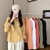 降價兩天 ins風休閒Polo領長袖襯衫女 2020新款秋季韓版寬鬆顯瘦襯衣外套潮