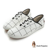 Hush Puppies 大方格咖啡紗帆布鞋-白色