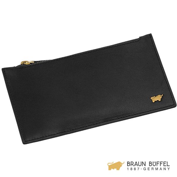 【BRAUN BUFFEL】RAZNOR 雷諾系列單層拉鍊卡夾 - 黑色 BF343-163-BK
