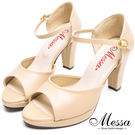 【Messa米莎專櫃女鞋】MIT絕美素面一字繫踝魚口粗高跟涼鞋-可可色