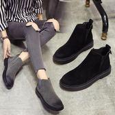 靴子 女鞋靴子正韓加絨刷毛短靴英倫風短筒雪地靴復古馬丁靴女 酷我衣櫥