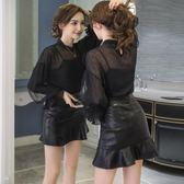 韓版洋氣時髦兩件套燈籠袖網紗上衣高腰包臀皮裙套裝女潮 三角衣櫃