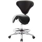 GXG 立體泡棉 小馬鞍加椅背 工作椅 (寬鋁腳+踏圈+防刮輪) 型號81T8 LU1XK