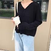 秋裝韓版寬鬆復古V領長袖毛衣開衫女百搭短款紐扣針織衫防曬外套  檸檬衣舍
