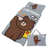 【享夢城堡】LINE FRIENDS 熊大愛自拍系列-兒童睡袋(灰)