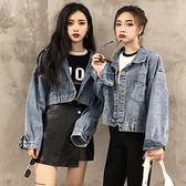 秋季新潮百搭閨蜜裝蝙蝠袖貼布牛仔外套韓版寬鬆學生長袖上衣女裝