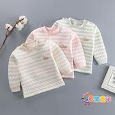 嬰兒秋裝上衣長袖女寶寶衛生衣單件夾棉保暖衣棉質打底衫男衣服秋冬